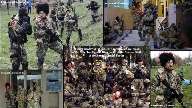 Five photos provided by the Ukrainian government appear to show the same soldier (circled in red) in operations in Kramatorsk and Sloviansk in Ukraine, as well as a group photo showing a sabotage-reconnaissance group in the Russian Special Forces