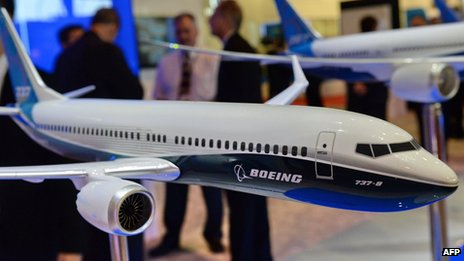 Boeing 737 model on display