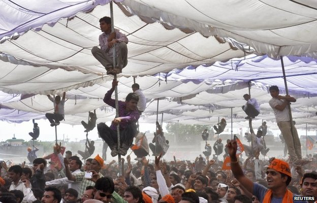 Supporters of Narendra Modi at a public meeting in Mathura, India