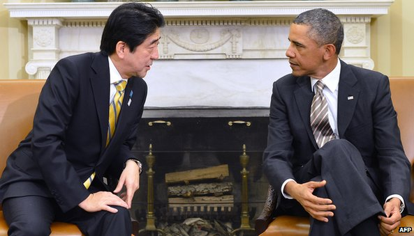 A meeting between Japanese Prime Minister Shinzo Abe and US President Obama at the White House in February
