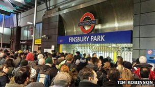 Crowds at Finsbury Park Tube station