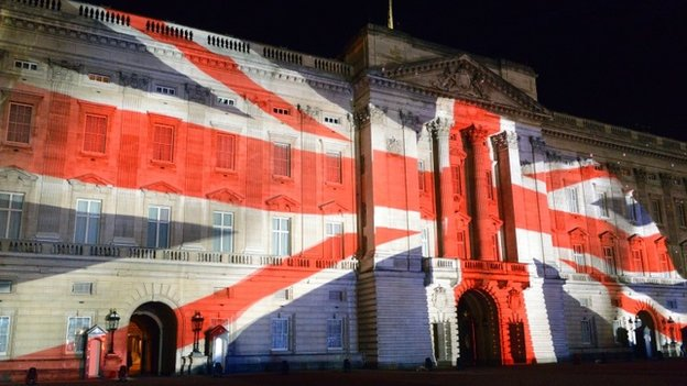 Union Flag projected on to Buckingham Palace
