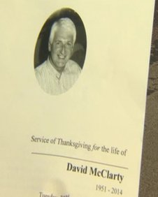 Mr McClarty's funeral service is taking place in Coleraine