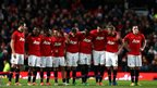 Manchester United players during the Capital One Cup semi-final penalty shootout