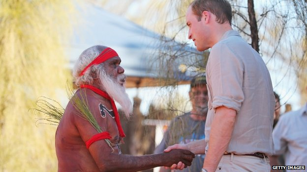 Duke of Cambridge greeting Aboriginal elder