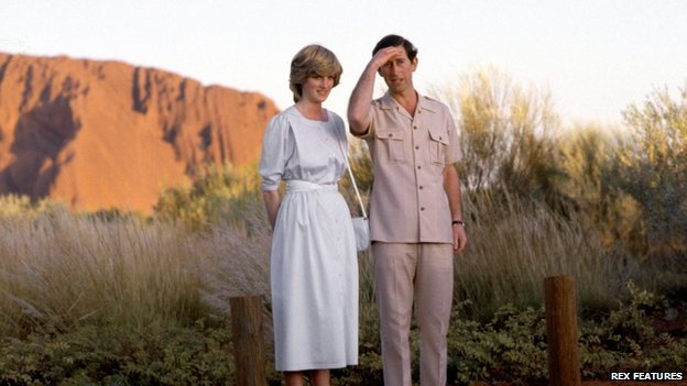 Prince Charles and Princess Diana visiting Uluru in 1983