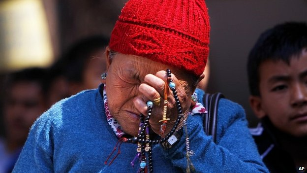 The mother of Ang Kaji Sherpa, one of the local guides killed in the avalanche on Mount Everest - 19 April 2014