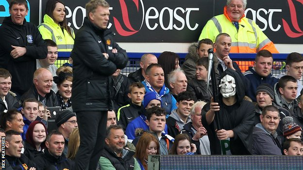 A fan dressed as the Grim Reaper taunted David Moyes in his last game in charge of Manchester United