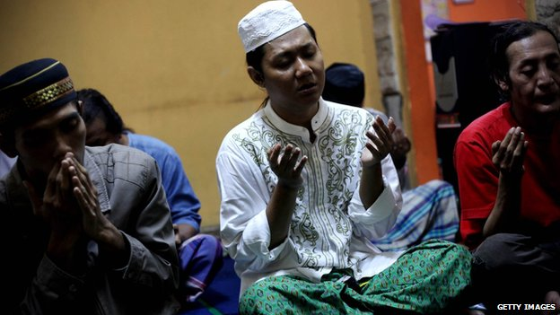 Transgender people pray at the school in Yogakarta
