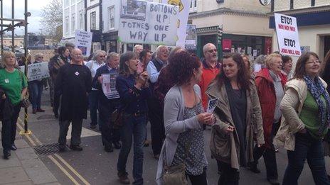 Protest through Totnes