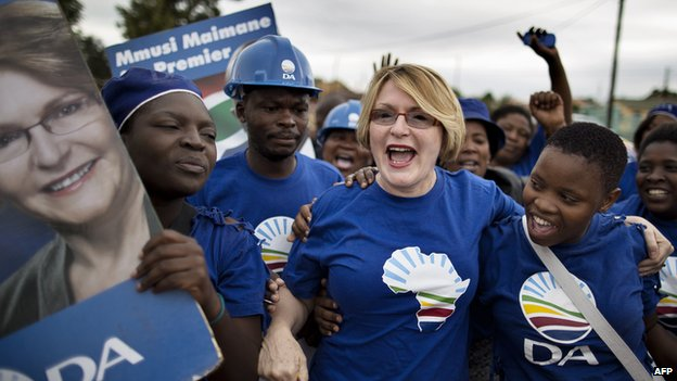 Democratic Alliance (DA) leader Helen Zille shouts political slogans while she leads a march of supporters through the streets of the Jabulani district of Soweto April 12, 2014.