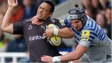 Newcastle's Sinoti Sinoti is high tackled by Saracens' Eoin Sheriff