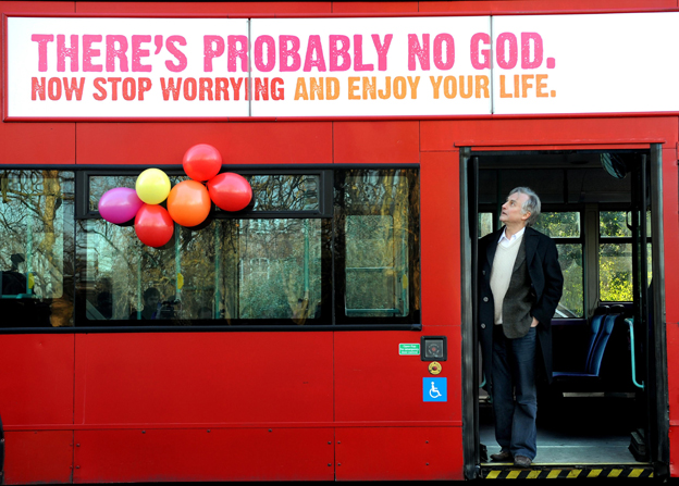 "Richard Dawkins on bus displaying sign saying ""There's probably no God"""