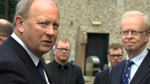 Jim Allister and Lord Empey were among the mourners