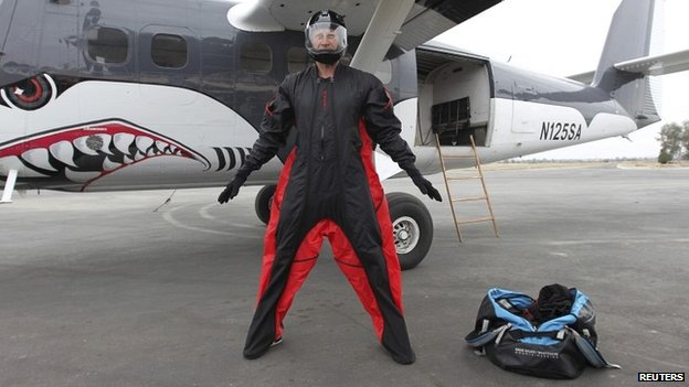 Wingsuit jumper Joby Ogwyn presents his outfit to the media in California - 26 February 2014