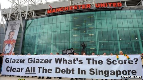 A group of Manchester United fan protest outside the clubs ground