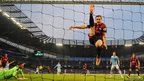 West Bromwich Albion's defender Craig Dawson tries unsuccessfully to clear the ball
