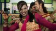An Indian transgender resident dances with others at an event to celebrate a Supreme Court judgement in Mumbai on April 15, 2014