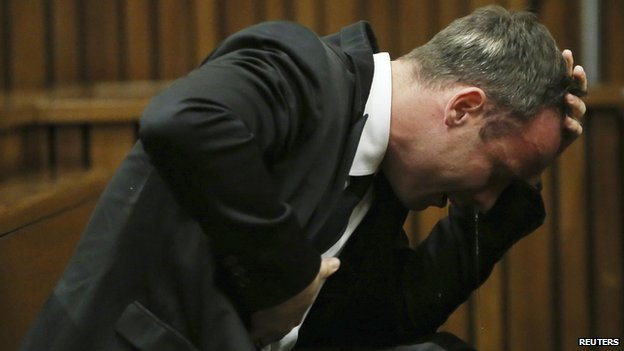 Oscar Pistorius becomes emotional during his trial at the high court in Pretoria on 7 April 2014.