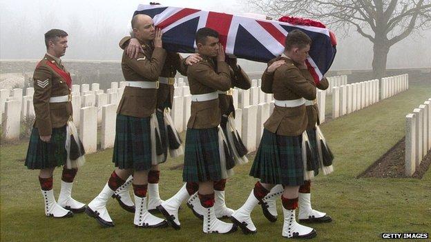 Modern reburial of WWI casualties