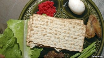 Image of a seder plate containing unleavened bread and eggs