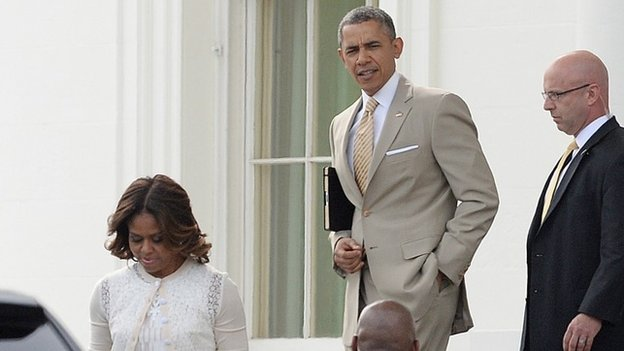 Michelle and Barack Obama en route to Easter Service
