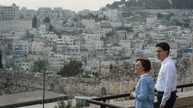 Ed Miliband and his wife Justine are shown around the Old City of Jerusalem, Israel