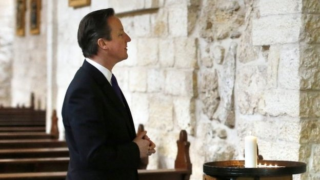 David Cameron visits the Church of the Nativity in the West Bank town of Bethlehem