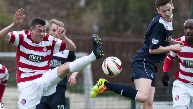 Hamilton's Louis Longridge and Falkirk's Conor McGrandles