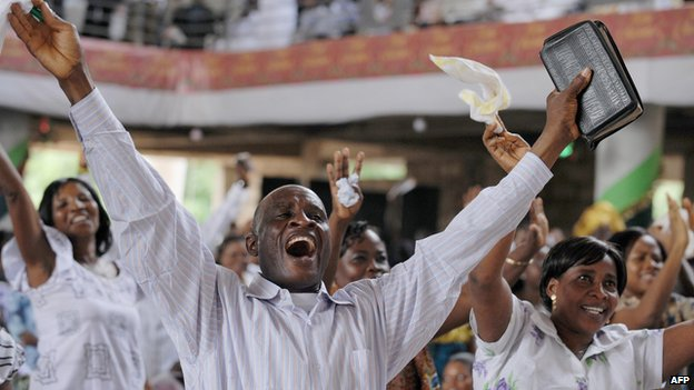 Worshippers at Pure Fire Miracle Church at Achimota in Accra in 2009