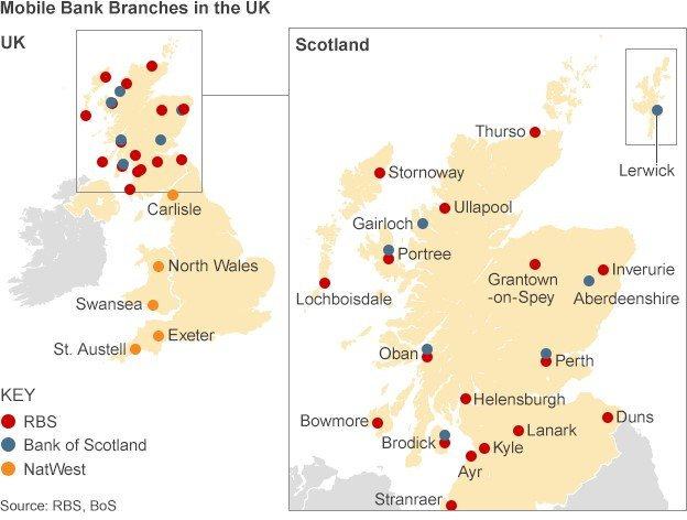map of mobile branches in the UK