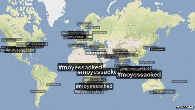 A screengrab from Trendsmap showing the hashtag #Moyessacked used around the world