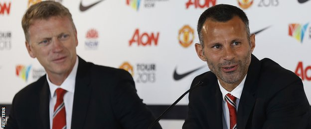 David Moyes and Ryan Giggs speak to the media
