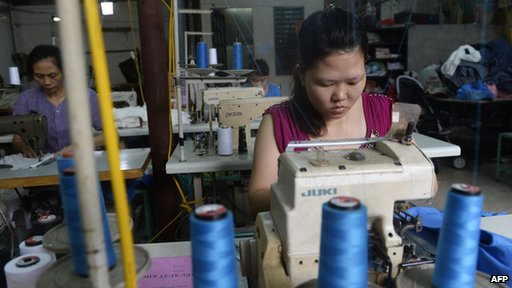 Women working in garment factory in Hanoi, Vietnam
