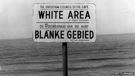 Apartheid era signpost indicating whites only area