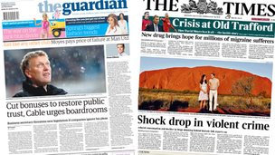 Composite image of the front pages of the Guardian and the Times on 23/04/14