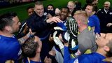 Leicester City players celebrate their Championship title success
