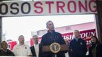 US President Barack Obama delivers remarks at the firehouse in Oso, Washington