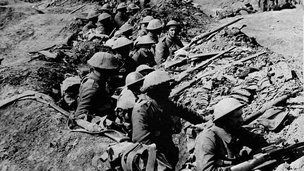 Soldiers in a World War One trench