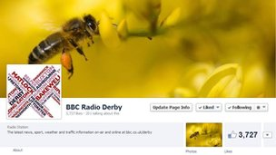 BBC Radio Derby Facebook cover photo featuring a wasp