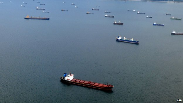 File photo: Ships anchored off Singapore's coastline