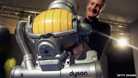 Briton James Dyson with his bagless vacuum cleaner