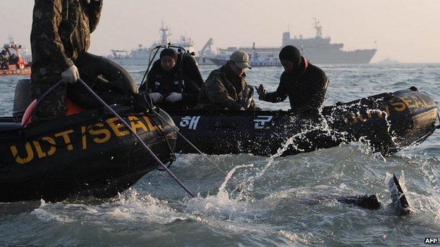 South Korean divers take part in recovery operations at the site of the sunken ferry off the coast of the island of Jindo - 23 April 2014