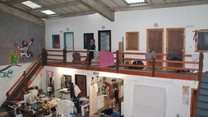 Inside a warehouse which has been converted into living accommodation