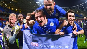Kasper Schmeichel (L) Marcin Wasilewski (top), Chris Wood and Matty James (R) celebrate winning the Championship title.