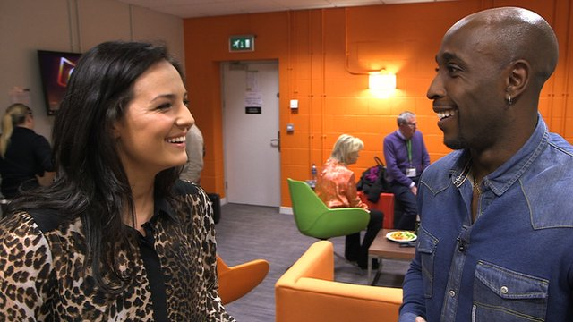 England cricketer Michael Carberry speaks to Olympic swimmer Keri-Anne Payne