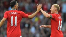 Ryan Giggs and Paul Scholes celebrate for Manchester United during the 2012-13 season