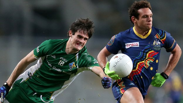 Ireland's Chrissy McKaigue in action against Steven Motlop of Australia at Croke Park in October 2013