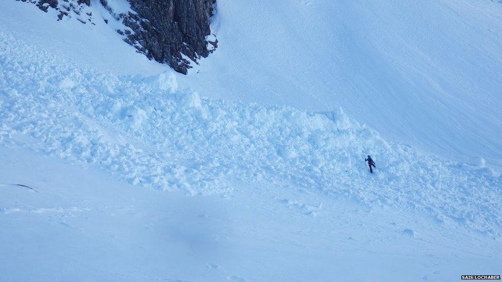 Avalanche debris in Lochaber