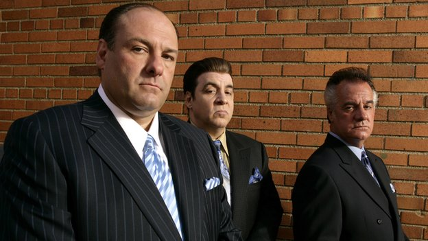 James Gandolfini (l) with fellow Sopranos cast members Steven Van Zandt and Tony Sirico